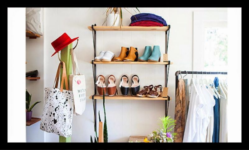 cute shelf with shoes white background