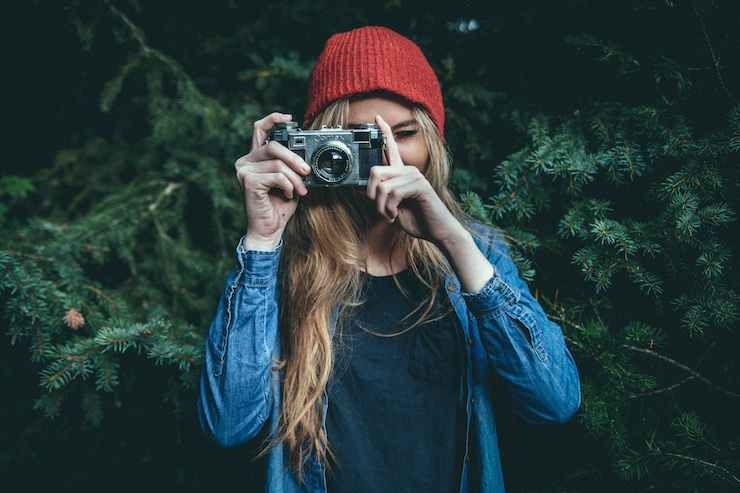 girl photographer taking picture cute hipster