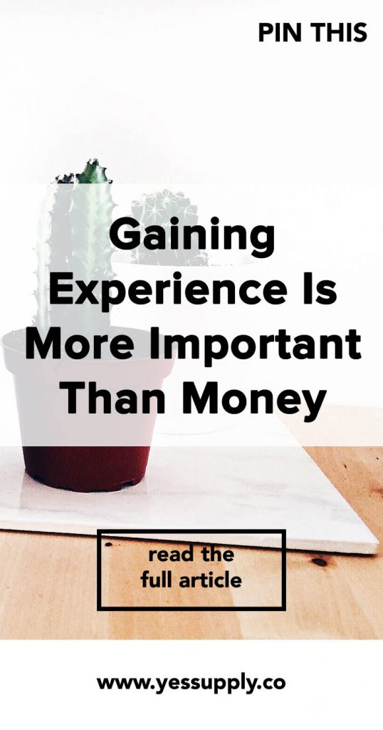 Gaining Experience Is More Important Than Money, Your Experience Is More Important Than Money, What Is More Important To You Making Money Or Experience