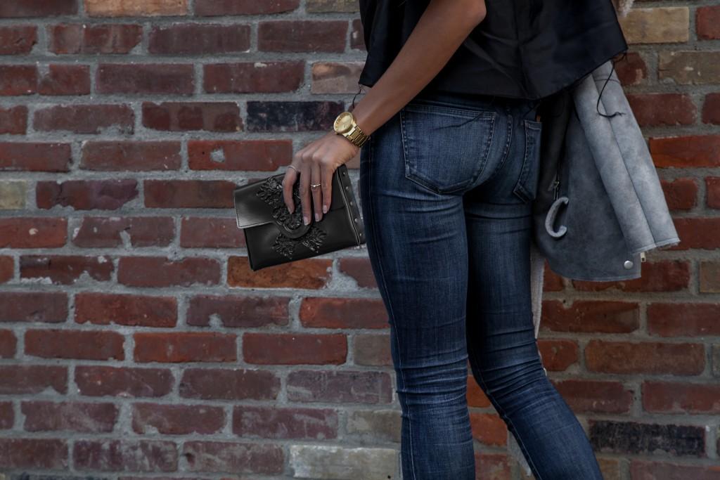 oak anf fort shearling jacket, medusa bag clutch, citizens of humanity jeans