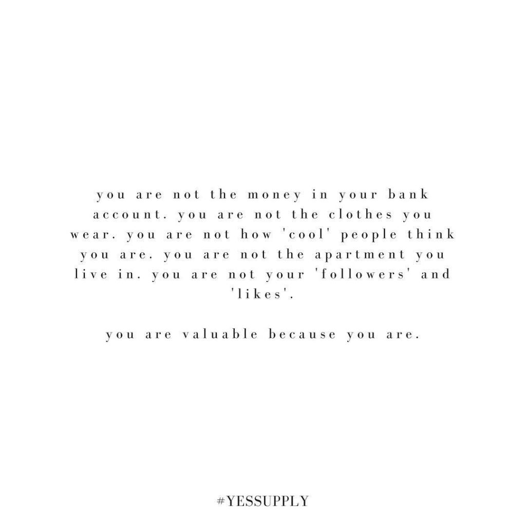 You are valuable and enough because you are YOU. Own it babe For more inspiration, quotes and tips on self-love and business for women, girlbosses, coaches, service, and freedom based business and female entrepreneurs check out www.yessupply.co.