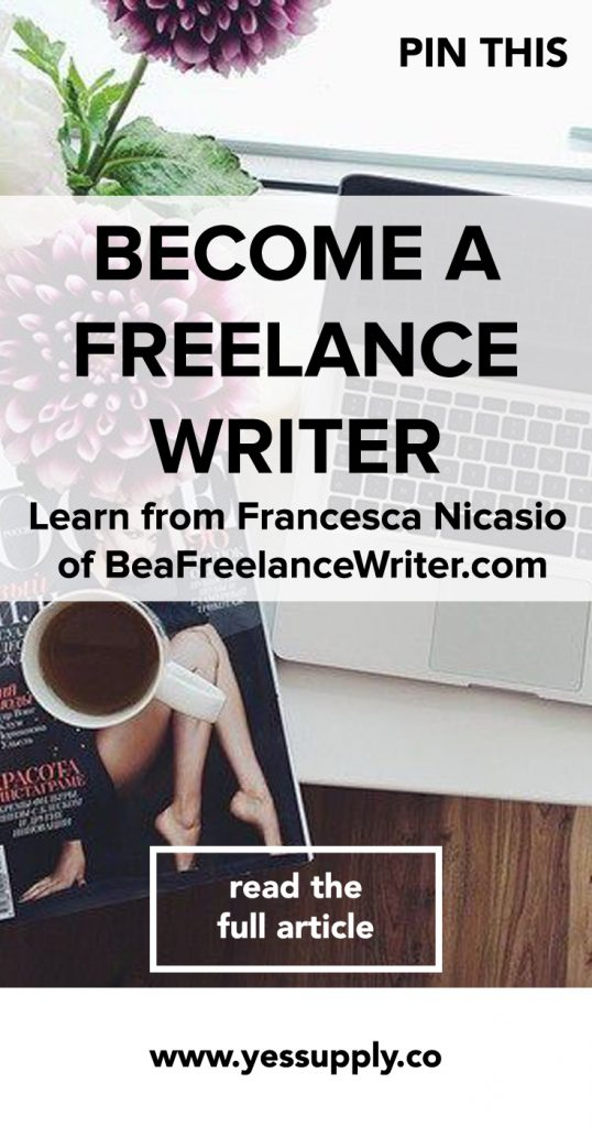 Wondering how to become a freelance bllogger? Francesca, founder of beafreelanceblogger.com shares her best tips and strategies with yes supply co